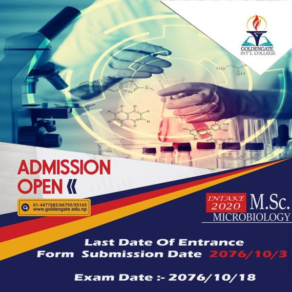 Admission Open for M.Sc. Microbiology at GoldenGate International College.